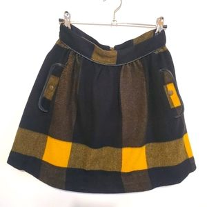 Free People Plaid Wool Skirt with Pockets